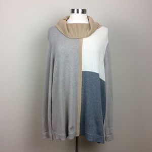 Chico's color blocked cowl neck sweater